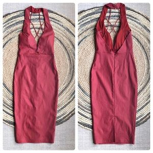 New Lac Bleu red midi halter dress size S